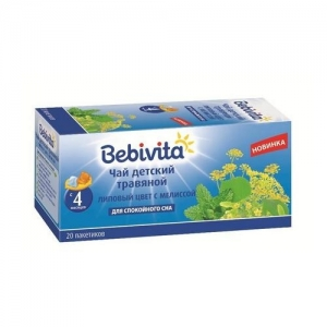 """""""Bebivita"""" чай Пакетированый Липовый цвет с Мелиссой с 4 месяцев. 20*1 г."""