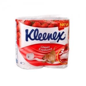 Kleenex Бумага туалетная Сочная клубника 4 шт. 3 слоя