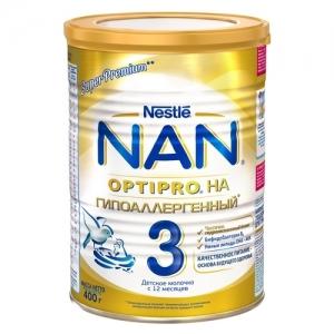 """""""Nestle NAN Гипоаллергенный 3"""" сухая смесь с 12 месяцев 400 г."""