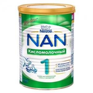 """""""NAN КислоМолочный 1"""" Сухая кисломолочная смесь с рождения. 400 г. С бифидобактериями."""
