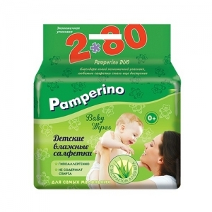 Салфетки детские влажные Pamperino с экстрактом алоэ вера 80*2 шт.