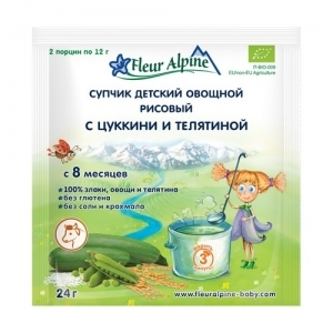 """""""Fleur Alpine"""" Супчик Овощной с Цуккини и Телятиной с 8 месяцев 24 г."""