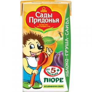 """Сады Придонья пюре """"Яблоко-Груша-Слива"""" без сахара с 5 месяцев 125 мл."""