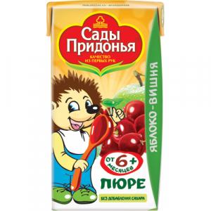 "Сады Придонья пюре ""Яблоко-Вишня"" без сахара с 6 месяцев 125 мл."
