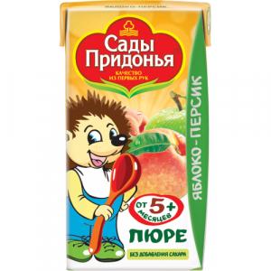 """Сады Придонья пюре """"Яблоко-Персик"""" без сахара с 5 месяцев 125 мл."""