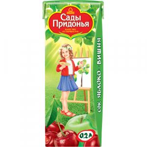 """""""Сады Придонья"""" сок Яблочно-Вишнёвый осветлённый без сахара с 5 месяцев 200 мл."""