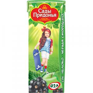 """""""Сады Придонья"""" сок Яблоко-Чёрная Смородина с 5 месяцев 200 мл."""