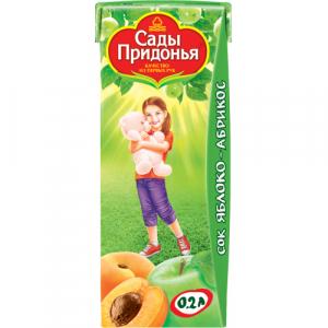 """""""Сады Придонья"""" сок Яблочно-Абрикосовый с мякотью без сахара с 5 месяцев 200 мл."""