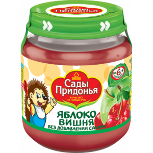 """Сады Придонья"" пюре 'Яблоко Вишня' без сахара с 6 месяцев 120 г."