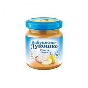 """Пюре """"Бабушкино лукошко"""" 100 г Творог Груша без сахара с 5 месяцев"""