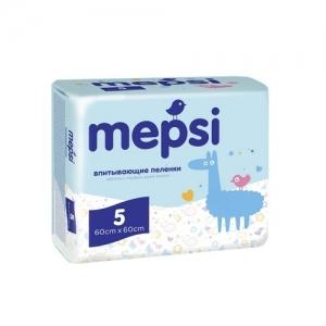 """Пелёнки детские впитывающие """"Mepsi"""" 5 шт. 60*60 см"""