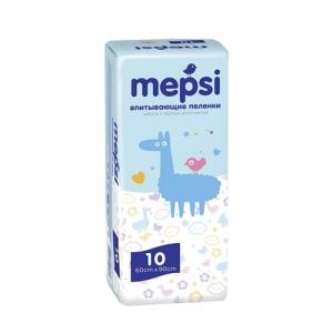 """Пелёнки детские впитывающие """"Mepsi"""" 10 шт. 60*90 см"""