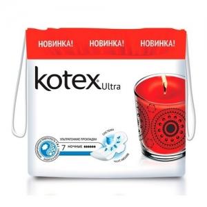"""Прокладки Kotex Ultra поверхность """"сеточка"""" Ночные (с крылышками) 7 шт."""