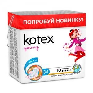 """Прокладки Kotex Young поверхность """"сеточка"""" Нормал (с крылышками) 10 шт."""