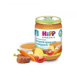 """""""HiPP"""" Мой первый супчик Овощной крем-суп с Говядиной с 6 месяцев 190 г."""