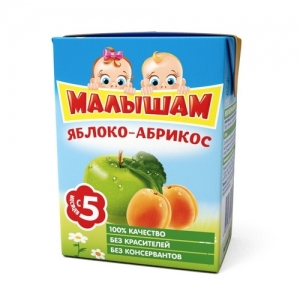 """""""МАЛЫШАМ"""" нектар Яблоко и Абрикос с 5 месяцев 200 мл."""