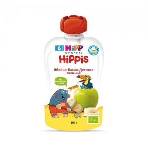 """""""HiPPiS"""" пюре Яблоко-Банан-детское Печенье с 6 месяцев  100 г"""