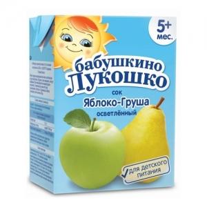 """Бабушкино лукошко"" Сок 'Яблоко-Груша осветлённый' с 5 месяцев 200 мл.ТетраПак"