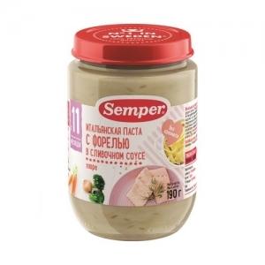 """""""Semper"""" пюре Итальянская паста с Форелью в сливочном соусе с 11 месяцев 190 г."""