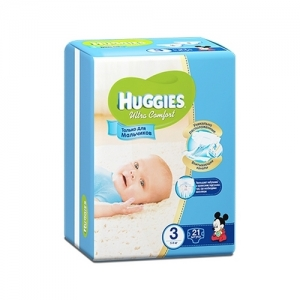 Подгузники HUGGIES Ultra Comfort для мальчиков Conv-Pack №3 (5-9 кг) 21 шт.