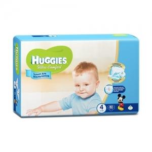 Подгузники HUGGIES Ultra Comfort для мальчиков GIGA-Pack №4 (8-14 кг) 80 шт.
