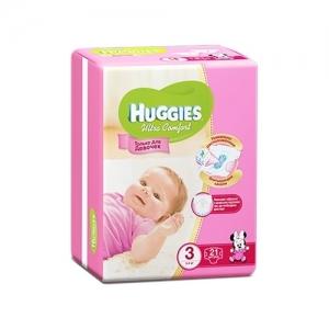 Подгузники HUGGIES Ultra Comfort для девочек Conv-Pack №3 (5-9 кг) 21 шт.