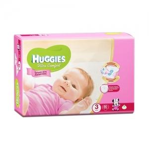 Подгузники HUGGIES Ultra Comfort для девочек Mega-Pack №3 (5-9 кг) 80 шт.