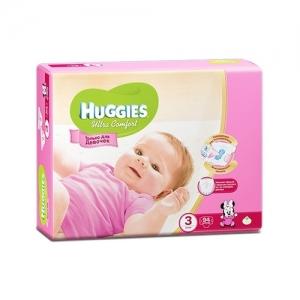 Подгузники HUGGIES Ultra Comfort для девочек GIGA-Pack №3 (5-9 кг) 94 шт.