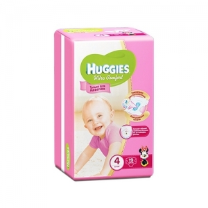 Подгузники HUGGIES Ultra Comfort для девочек Conv-Pack №4 (8-14 кг) 19 шт.