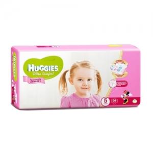 Подгузники HUGGIES Ultra Comfort для девочек GIGA-Pack №5 (12-22 кг) 64 шт.