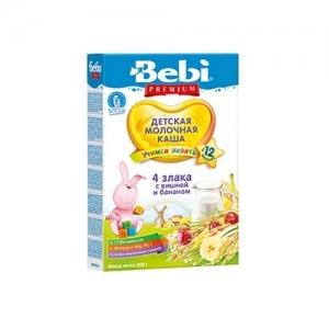 """Bebi Premium"" Молочная каша из 4 Злаков 200 г. Вишня, Банан с молоком  с 12 месяцев"