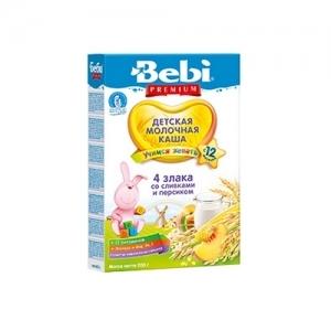 """""""Bebi Premium""""  Молочная каша из 4 Злаков 200 г. Сливками и Персиком с 12 месяцев"""