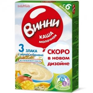 """""""Винни"""" каша Молочная 3 Злака с Манго и Бананом с 6 месяцев 200 г."""