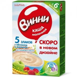 """""""Винни"""" каша Молочная 5 Злаков с Яблоком и Малиной с 6 месяцев 200 г."""