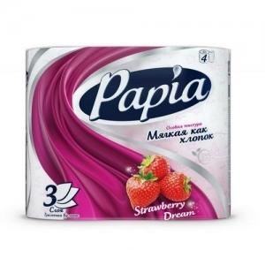 Туалетная бумага белая с ароматом и рисунком Papia Strawberry Dream трёхслойная, 4 шт Россия(0075)