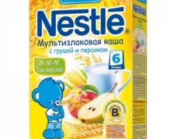 Каша Nestle Молочная Мультизлаковая с Грушей и Персиком 250 г. с 6 месяцев